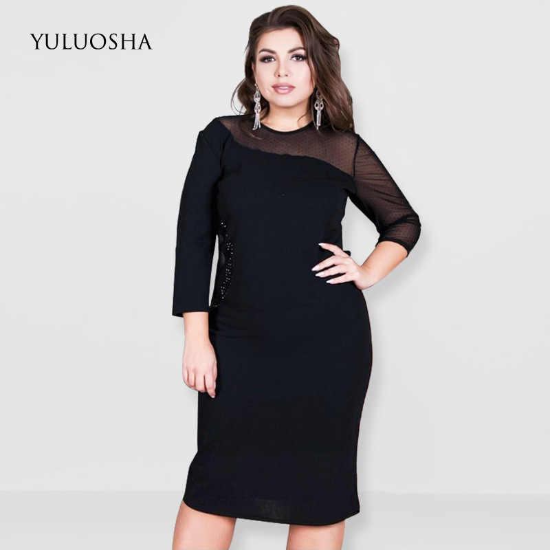 YULUOSHA רויאל כחול שמלת תחרה אונליין O-צוואר נשים שמלת ערב המפלגה אדום שמלת Vestidos דה פיאסטה דה Noche בתוספת גודל סקסי שמלה