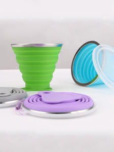 Folding-Cups Telescopic Travel-Cup Retractable Stainless-Steel Collapsible Outdoor Silicone