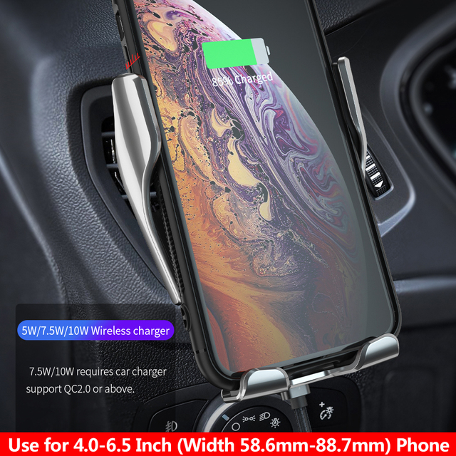 Automatic Clamping QI Wireless Car Charger Mount Infrared For iPhone 8 X XR XS 11 Samsung S10 S9 S8 4