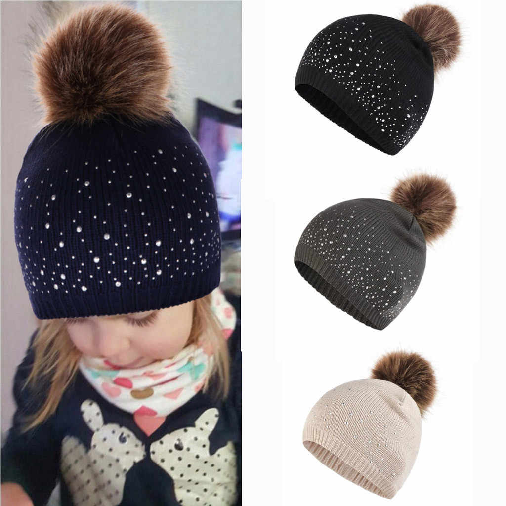 Cute Baby Hat Knitting Wool Hemming Kids Hat Rhinestone Keep Warm Winter Hairball Cap Newborn Photography Props Casquette Fille
