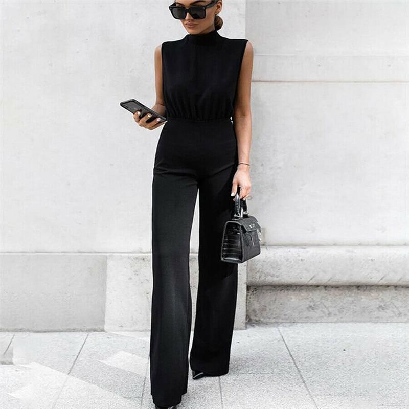 Women Black Sleeveless Long Pants Jumpsuit Summer O Neck Playsuit Bodycon Party Jumpsuit Romper Trousers