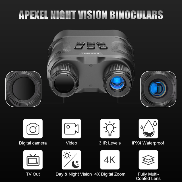 APEXEL HD Digital Night Vision Binoculars with LCD Screen Infrared (IR) camera  waterproof zoom Device For Hunting Video record 2