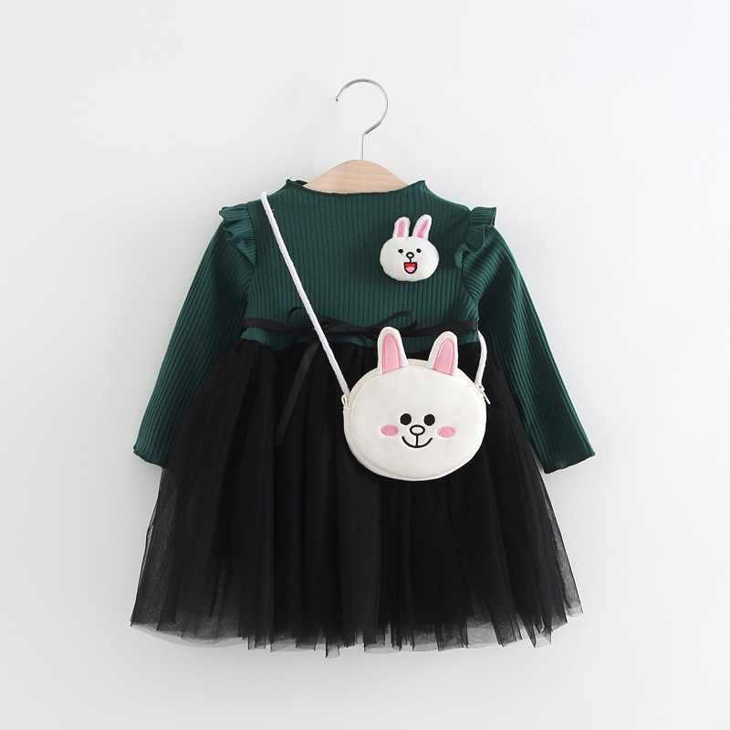 Moda da criança meninas vestidos de algodão manga longa crianças vestido de meninas vestido de princesa tutu crianças vestido de bebê meninas roupas