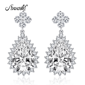 AINUOSHI 925 Sterling Silver Pear Cut 10x14mm CZ Halo Stud Earring 5CT Silver Water Earring for Women Wedding Party Jewelry