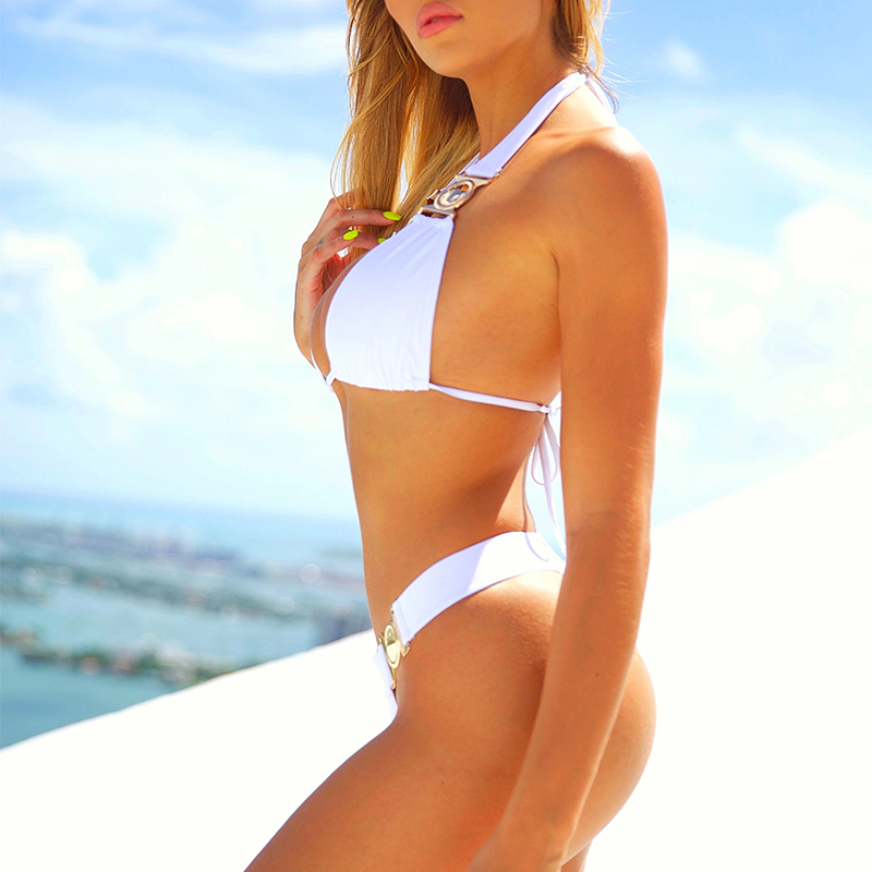 Image 3 - In X Sexy white Rhinestone bikini 2020 Push up swimsuit female Triangle swimwear women Thong bikini set Summer Bathing suit newBikini Set   -