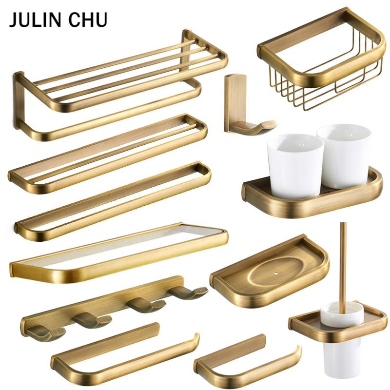 Bronze Bathroom Accessories Set Antique Double Towel Shelf Rail Toilet Brush Holder WC Paper Holders Robe Hook Ceramic Cup Rack
