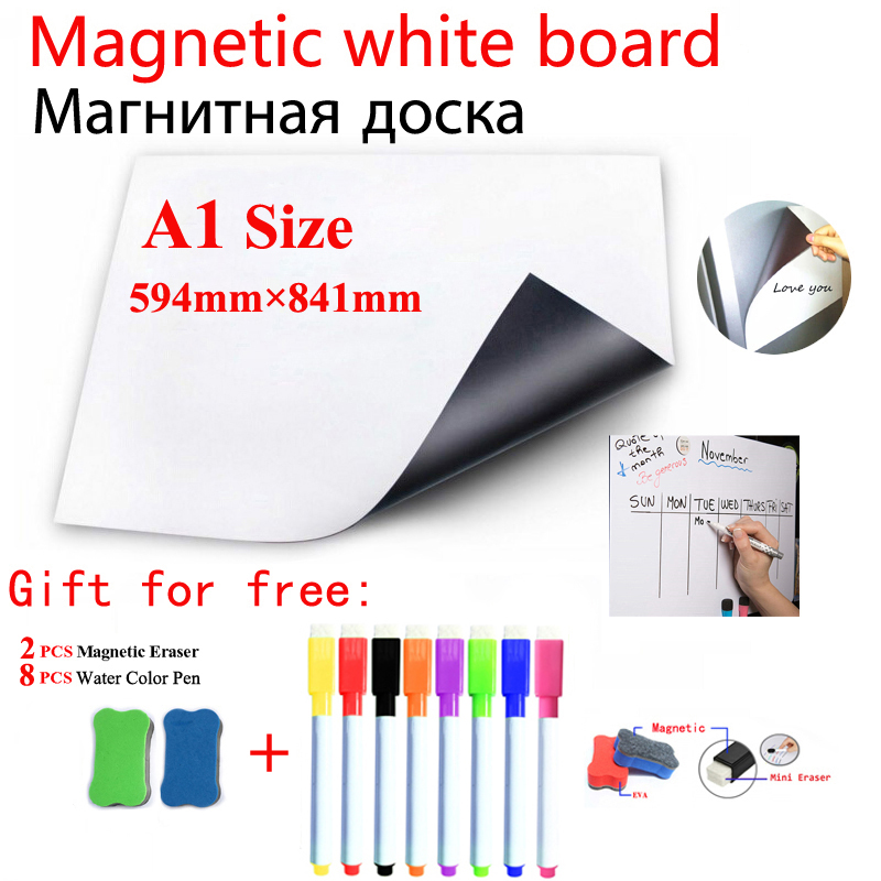 Magnetic Whiteboard Message Painting Board Flexible Pad Magnet Fridge Home Office Kitchen School Dry Erase White Board A1 Size