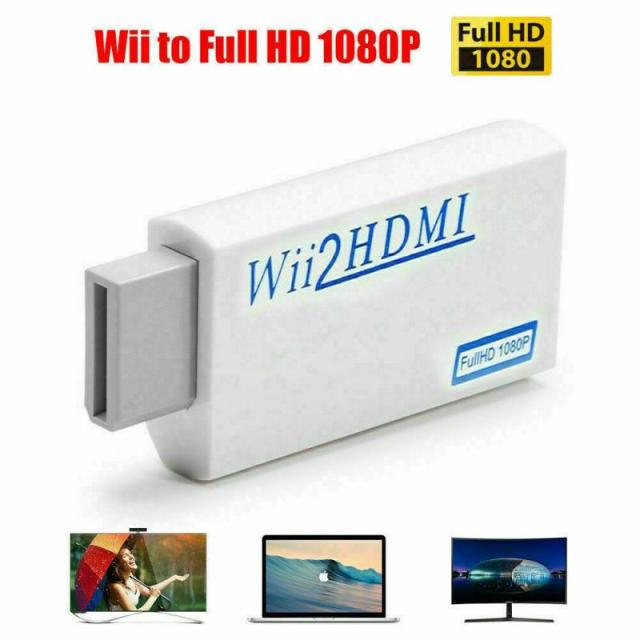 Full HD 1080P Wii To HDMI Converter Adapter Wii To HDMI Converter 3.5mm Audio Output Adapter Plug For PC HDTV Monitor Display