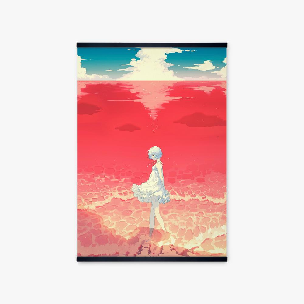 Japan Manga Evangelion Ayanami Rei Smile Poster Wall Art Print Anime Red Sea Landscape Painting Canvas Picture Home Decor Study