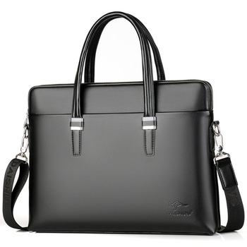 mens briefcase PU Leather Shoulder Fashion Business Bags Handbags Black Bag Men For Document Laptop Briefcases