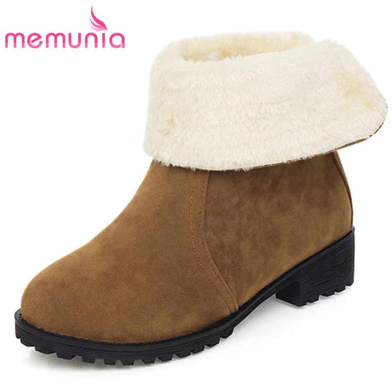 MEMUNIA 2020 artı boyutu 45 kış kar botları kadın akın yuvarlak ayak kalın kürk zip düşük topuklu rahat ayakkabılar kadın yarım çizmeler
