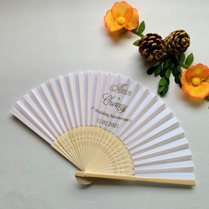 Image 4 - 50PCS Personalized Engraved Bamboo Folding Silk Hand Fan Customized Wedding Favor Birthday Baby Shower Holiday Gift For Guests