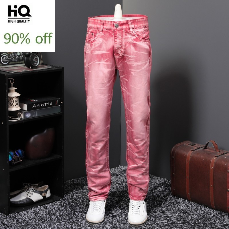 Personality Red Punk Style Mens Loose Straight Wash Denim Pants Full Length Fashion Clubwear Casual Plus Size Cowboy Trousers