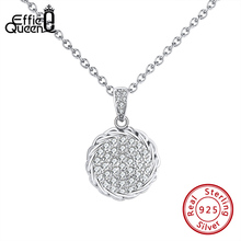 Effie Queen Luxury Personalized Wedding Pendant Necklaces with Big Round AAAA Zircon Chain Necklace Jewelry Party Gift BN214