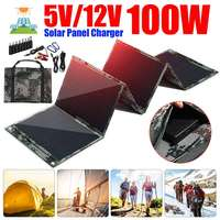 100W Folding Solar Cell Charger 5V/12V 3A Dual USB Output Device Foldable Solar Panels for Smartphones Laptop Tablet Outdoor