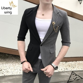 Mens Half Sleeve Blazer Jacket Suit Striped Patchwork Slim Fit Two Piece Set Business Man Coordinates Night Club Clothes Suits