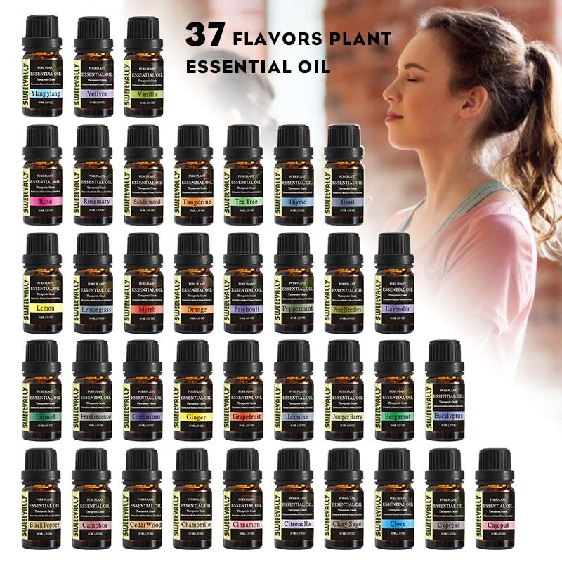 Sweetvally 37 unids/set aceite aromático aceite esencial de mejora de plantas naturales 10ml Aceite de Masaje cuidado de la piel aceite de árbol del té