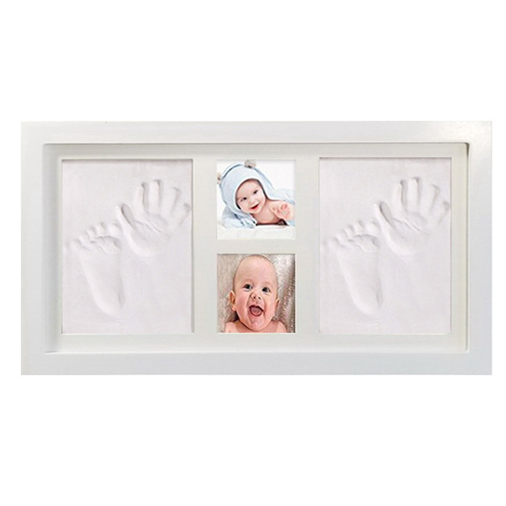 Easy Apply Soft Cute Mud Air Drying Photo Baby Handprint Kit Foot Memorable Clay Inkpad Wood Frame Gift Non Toxic