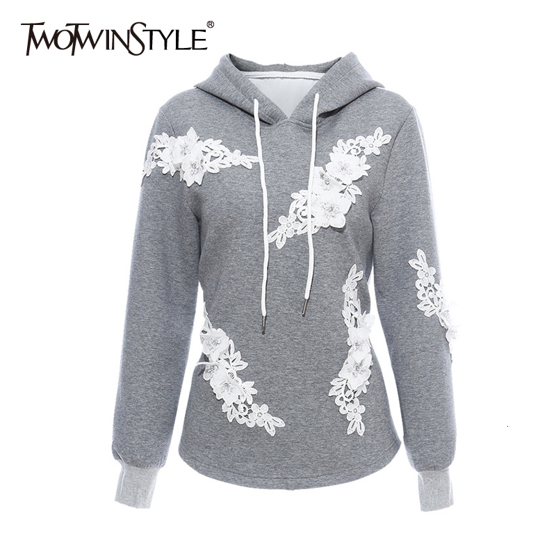 TWOTWINSTYLE Patchwork Lace Embroidery Sweatshirt Female Hooded Long Sleeve Large Size Pullovers Womens Clothes Fashion 2020 New