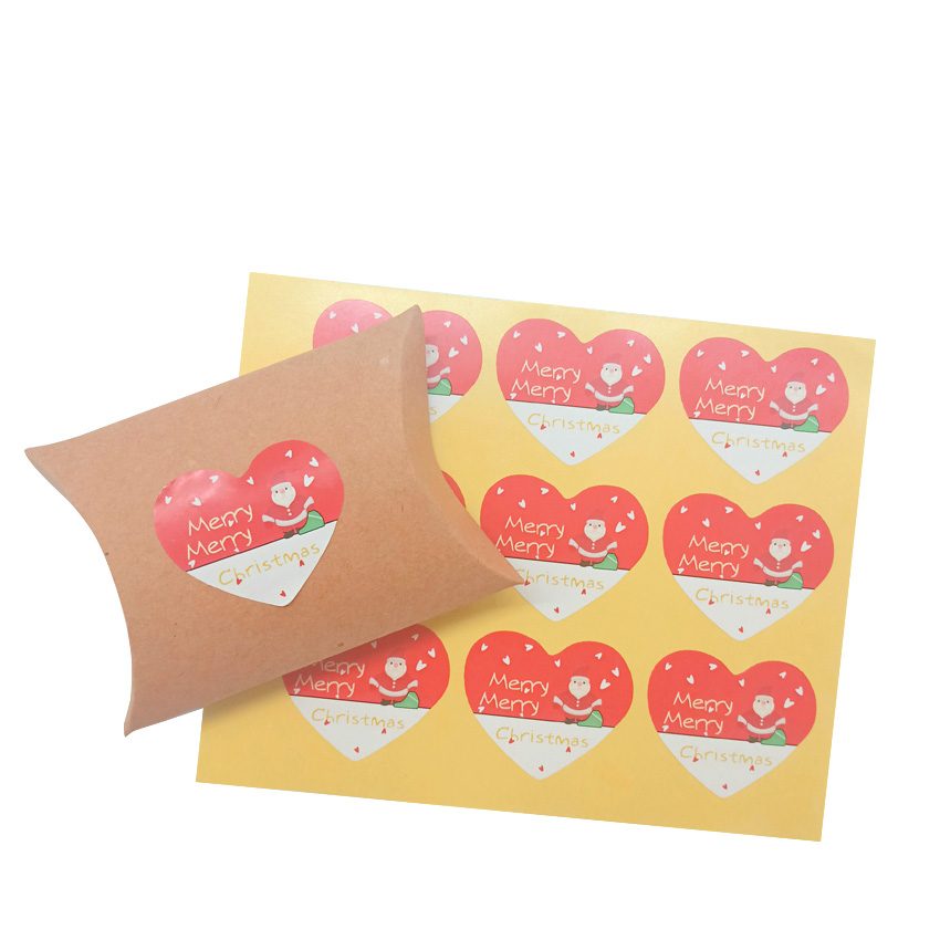 90pcs/lot Merry Christmas Santa Adhesive Kraft Heart  Seal Sticker For Baking Gift Label Stickers