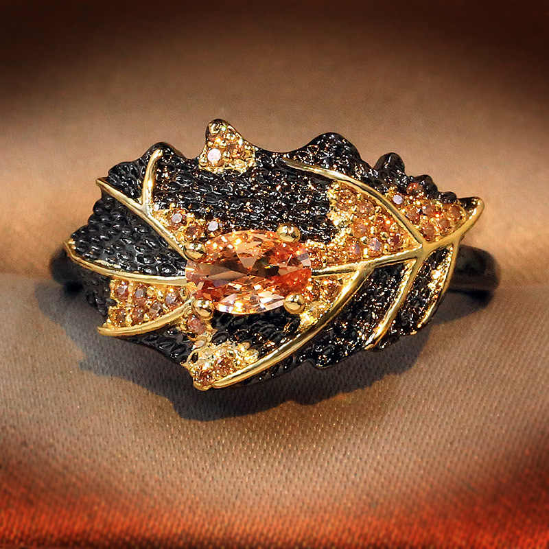 925 srebrny Vintage okrągły złoty kolor naturalny pomarańczowy cyrkon pierścień kryształ Rhinestone kamień liść biżuteria pierścionki dla kobiet