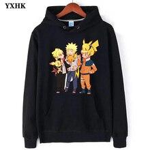 Naruto Long Sleeve Fleece Fashion Japanese Anime Lovely Pokemon Mens Hoodies Pikachu Man Cotton Hoodie Sweatshirt