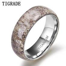 Tigarde 8mm Titanium Men Ring Natural Deer Antler Rings Domed Edges Comfort Fit Wedding Engagement Band Unique for Party