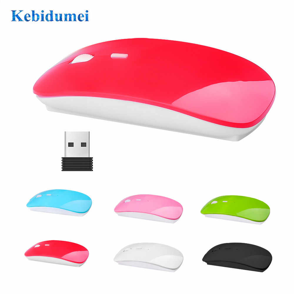 Kebidumei 2.4 GHz Mouse Nirkabel Ultra Tipis USB Optical Gaming Slim Receiver Komputer untuk Apple Mac Laptop Power Switch Tikus