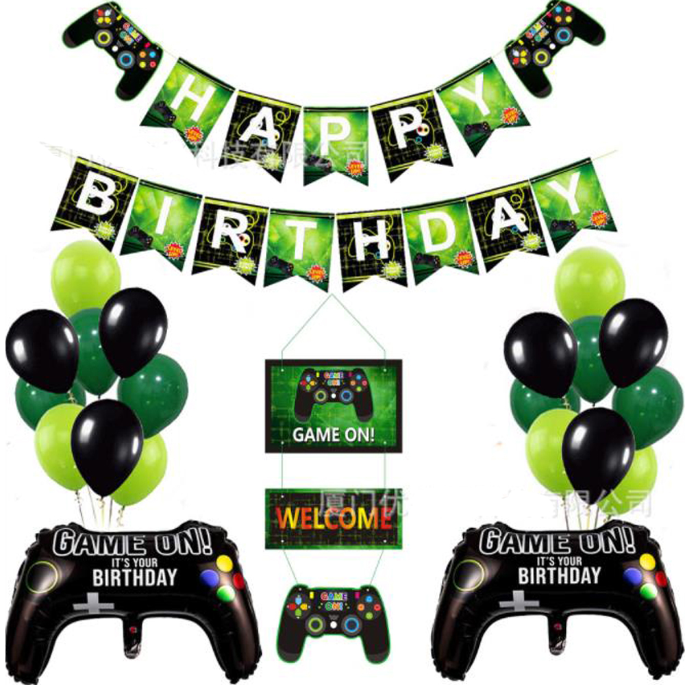 1 set of boy game balloon party banner, boy game birthday party decoration children black game props game cake topper theme
