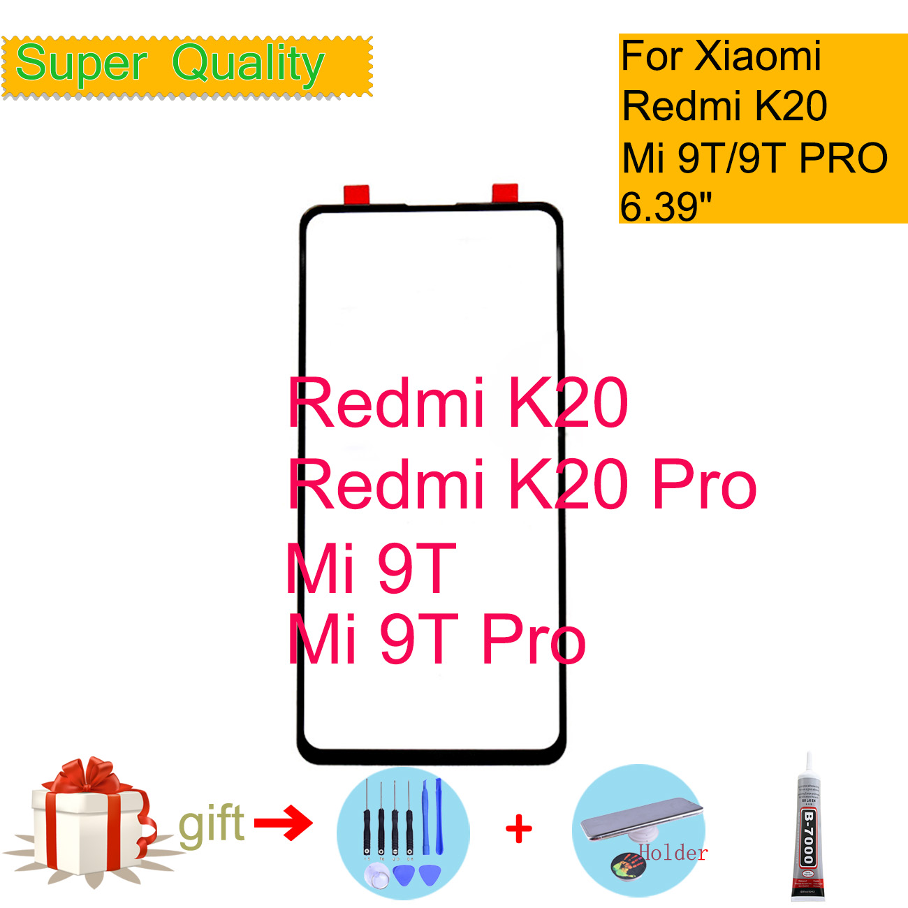 For Xiaomi Redmi K20 Pro Touch Screen Panel Front Outer Glass Lens For Xiaomi Mi 9T Pro LCD Front Glass Touch Screen Replacement