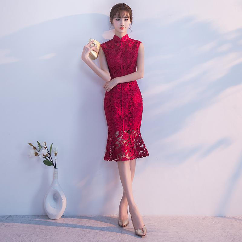 Spring-Evening-Party-Gowns-Qipao-Traditional-Chinese-Women-Wedding-Dress-Slim-Red-Lace-Half-Sleeve-Mandarin (6)