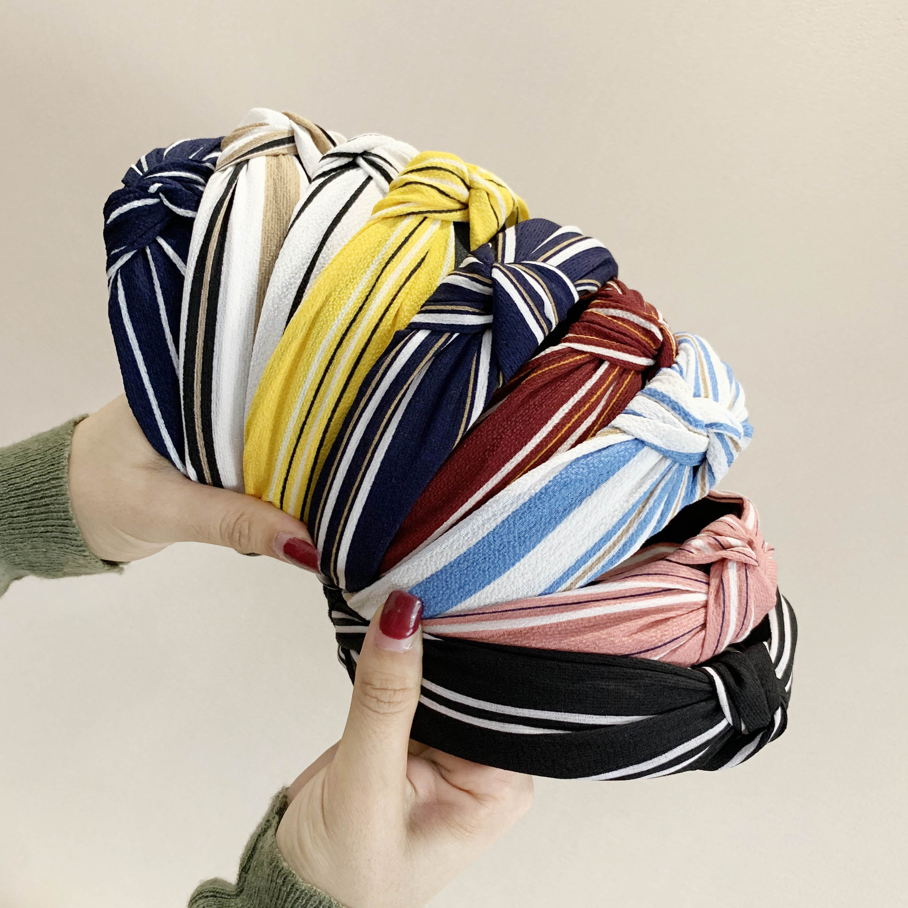 Chen Yan New Stripe Headband Fashion Chiffon Headbands Knot Cross Hairband XLFG7
