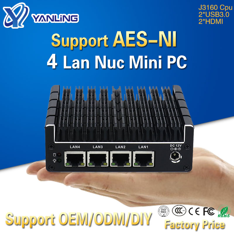 Yanling 4 Gigabit Intel Lan J3160 CPU Pocket Mini Computer Support Pfsense OpenVPN AES-NI Barebone Fanless NUC PC With 2*HDMI