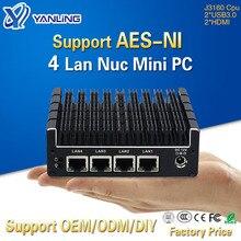 Yanling 4 기가비트 인텔 Lan J3160 CPU 포켓 미니 컴퓨터 지원 Pfsense 방화벽 VPN AES NI 베어 본 팬리스 NUC PC 2 * HDMI