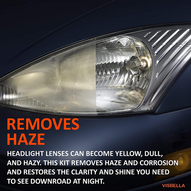 Visbella Headlight Restoration System Repair Kit DIY Headlamp Brightener Car Care Repair kit Lamp Light Clean Polish by manual 1