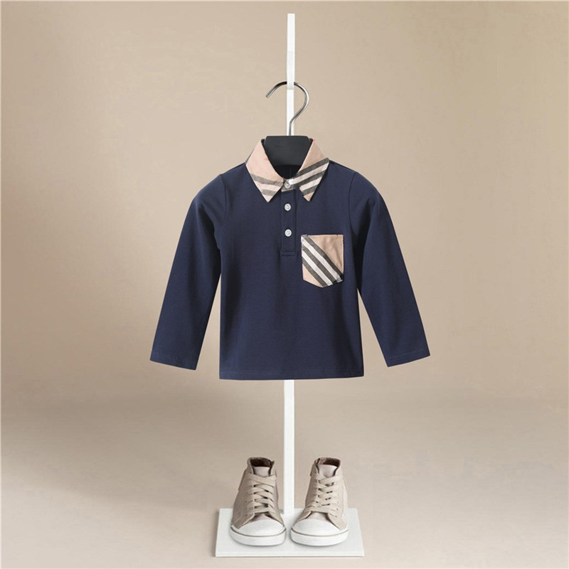 Kids Boys T-shirts Baby Long Sleeve Turndown Collar Stripe Tops Children Autumn Solid Cotton Sweatshirt 1-5 Years Boy T Shirts image