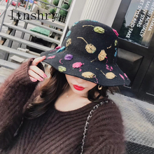 New Retro Women Authentic wool Top hat elegant Bucket cap Felt Hat Female Graffiti Wool  Autumn Winter High Quality Fedora