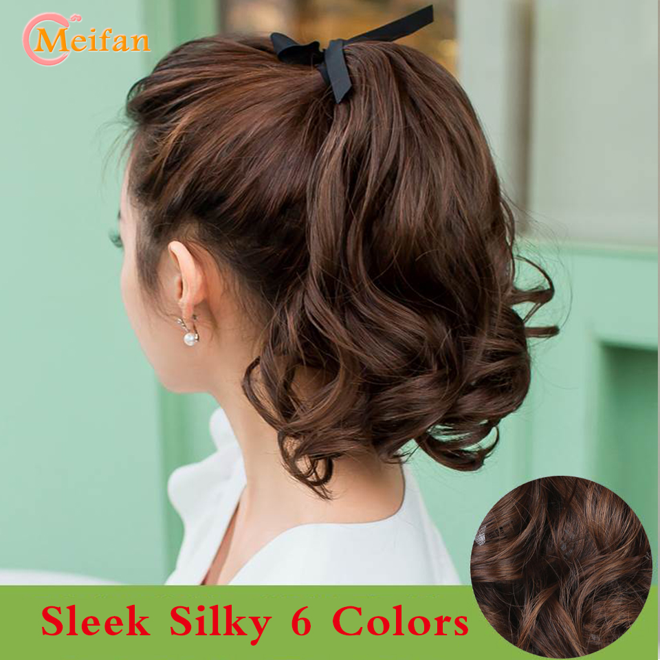 MEIFAN Short Curly Wave Clip In Ponytail Hair Extention Wigs Synthetic Heat Resistant Sleek Silky For African American Female