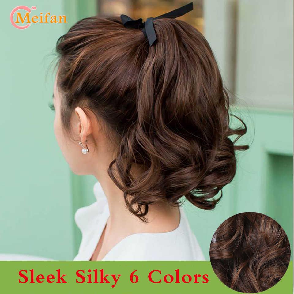 MEIFAN krótki kręcone fala klip w kucyk doczepiane włosy peruki syntetyczne żaroodporne elegancki jedwabisty dla afroamerykanów kobiet