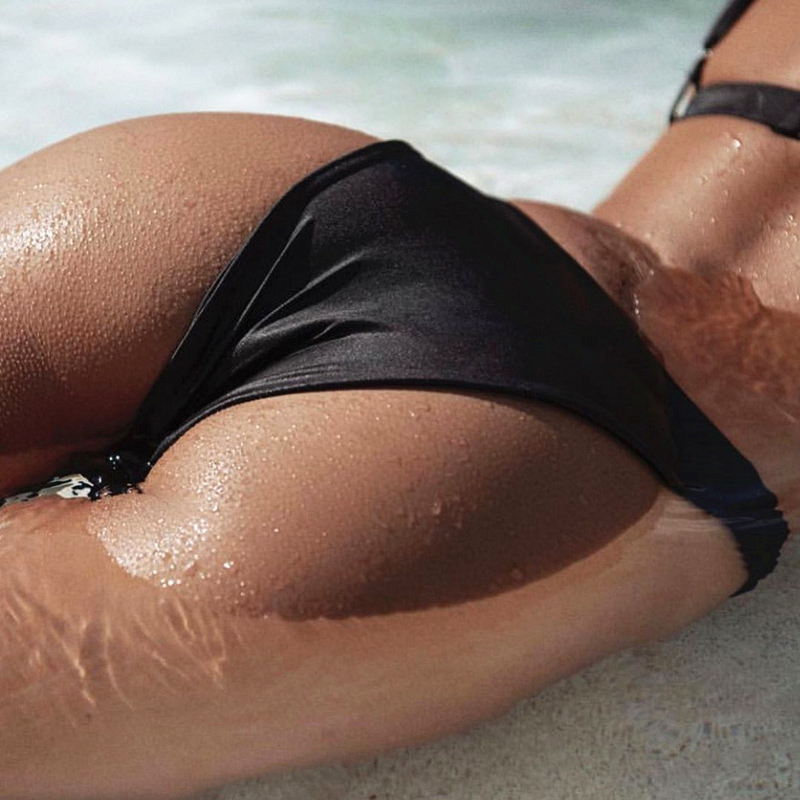 One Shoulder Bikini Set Padded Bikini Bra Top Low-waisted Panties Women Swimsuit Swimwear Suit YS-BUY 5