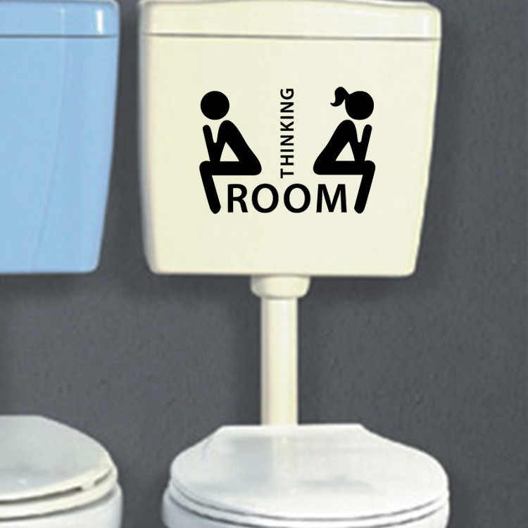 Sala de Porta Do Banheiro WC wc Adesivos Decoração Removível Criativo Pensamento Indicação Mark Adesivos Preto Bonito Adesivo Útil