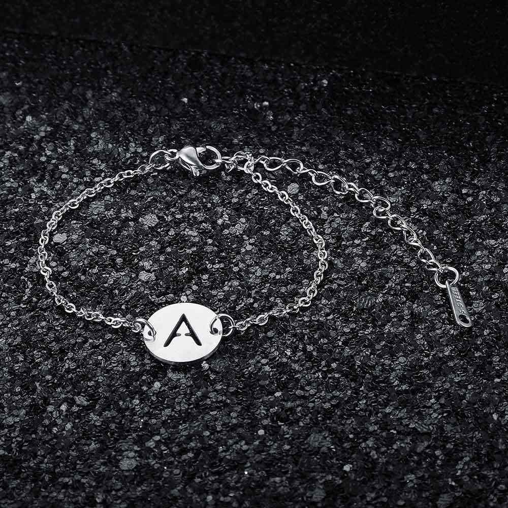 Fabulous 100% Real Stainless Steel A-Z Initial Name Letter Charm Bracelet for Women Female AAAAA Quality Bracelet