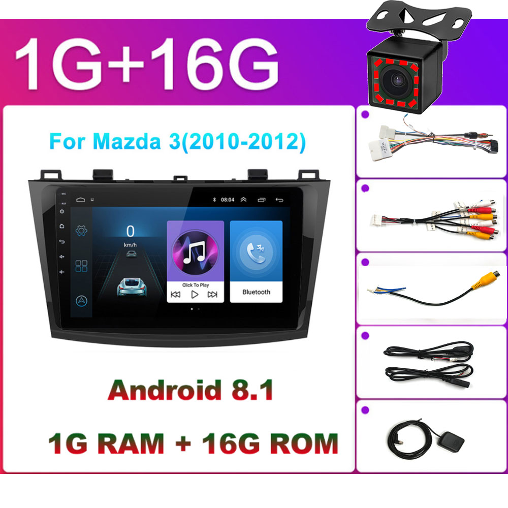 For <font><b>Mazda</b></font> <font><b>3</b></font> 2004-2013 maxx axela android 8.1 Car DVD <font><b>GPS</b></font> Radio Stereo 1G 16G WIFI Free <font><b>MAP</b></font> Quad Core 2 din Car Multimedia Player image