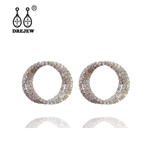 DREJEW Luxury Gold Silver Rose Circle Rhinestone Statement Earrings 2019 925 Drop Sets for Women Fashion Jewelry HE625
