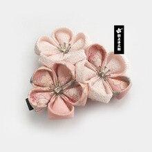 일본식 Tsumami Kanzashi 사쿠라 꽃 기모노 바레트 액세서리 순수한 수제 헤어 클립 핀 머리 장식 머리 장식