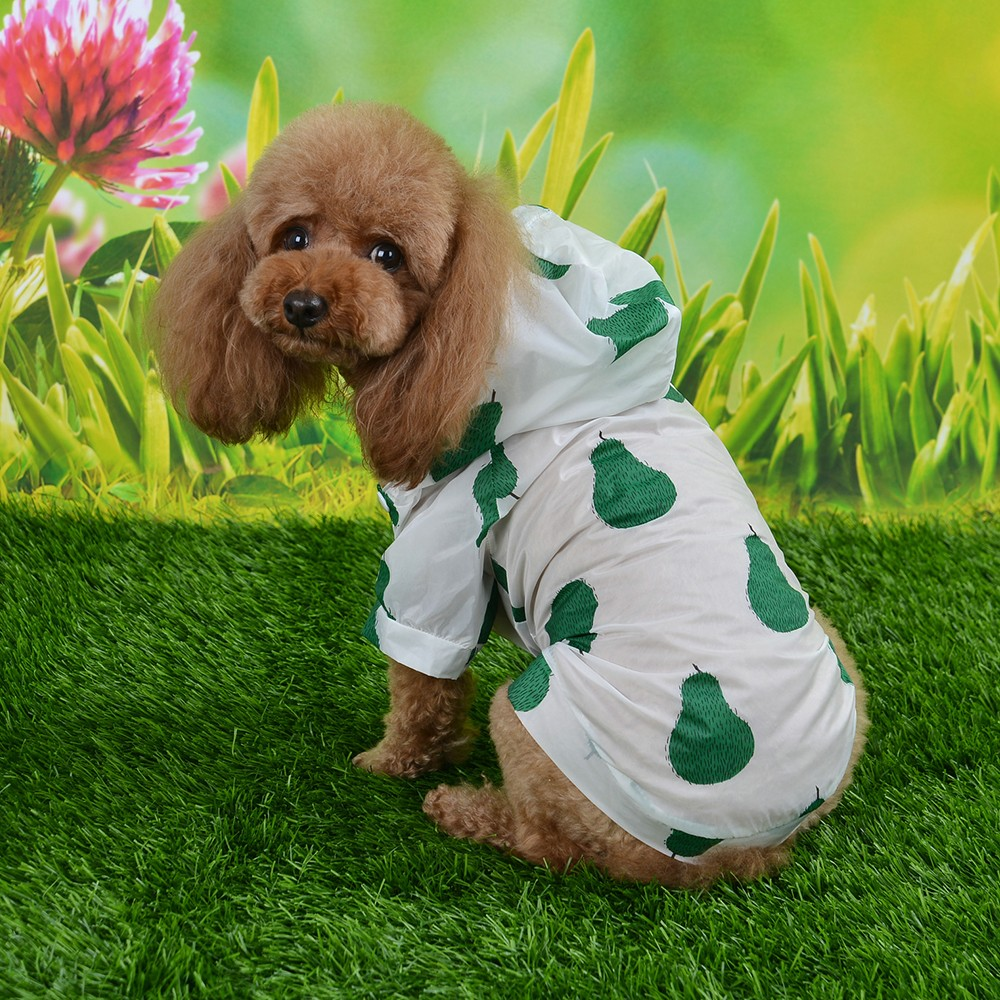 1 PC Sun Protection Hoodie Small Dog Clothes Fruit Printing Print Poncho Dog Raincoat Sun proof Clothing For Small Medium Pets in Dog Raincoats from Home Garden