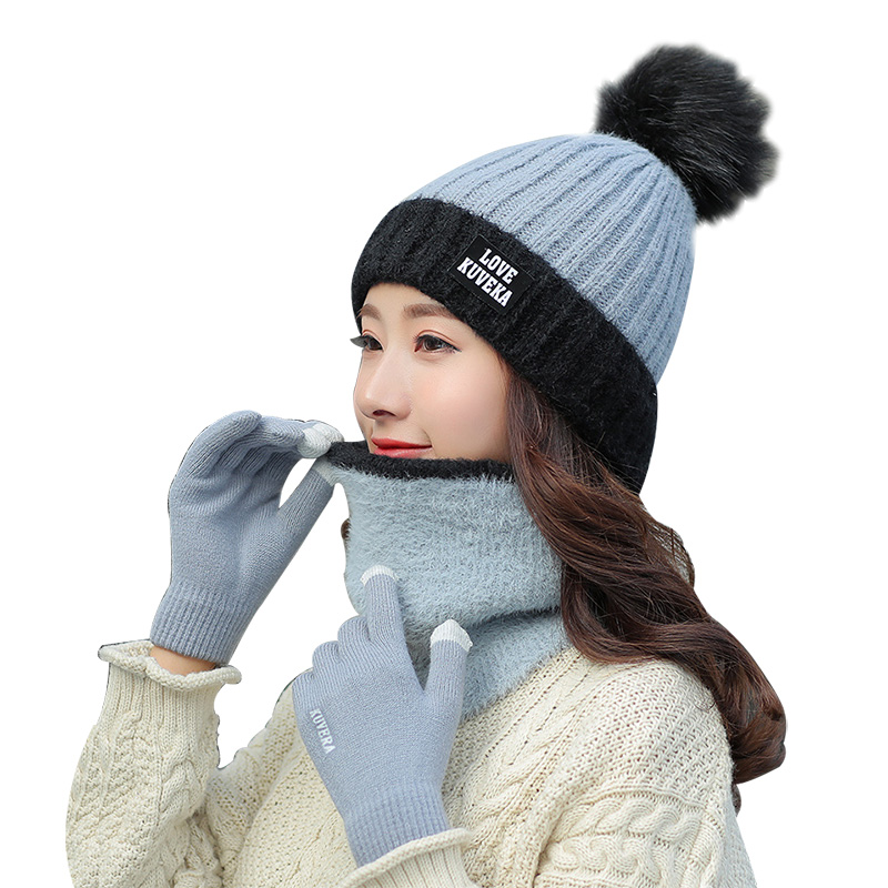 New Brand Designer Knit Winter Hats For Women 3/Set Hat Scarf Glove Female Fashion Beanie Thick Skullies Pompom Bonnet For Girls