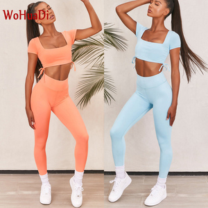 Wohuadi tether manga curta conjunto de esportes yoga roupas femininas terno ginásio de fitness esportiva cintura alta leggings feminino
