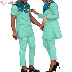 Nieuwste Ontwerp Lover Broek Sets 100% Katoen Mannen T-shirt Set En Vrouwen Shirt Set Afrikaanse Paar Kleding Familie Jurken WYQ390