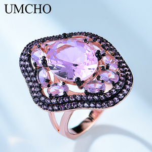 UMCHO Solid Silver 925 Jewelry Special Pattern Created Nano Emerald Rings For Women Birthday Gifts Charms Fine Jewelry(China)